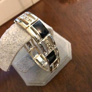 Faux black onyx silvertone bracelet
